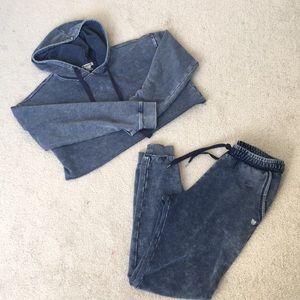 FOREVER 21 Blue Crop Hoodie Sweatpants Set - Sz S